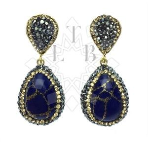 Jewelry - Lapis Lazuli & Swarovski Crystal Pendant Earrings